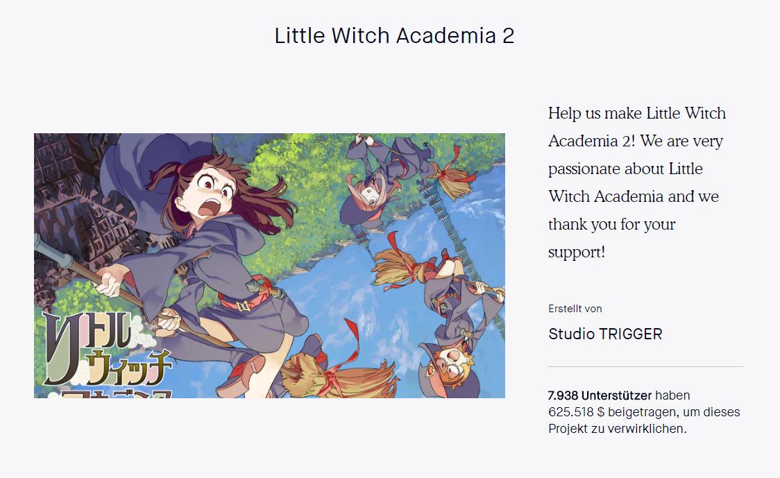 Kickstarter Projekt Little Witch Academia 2